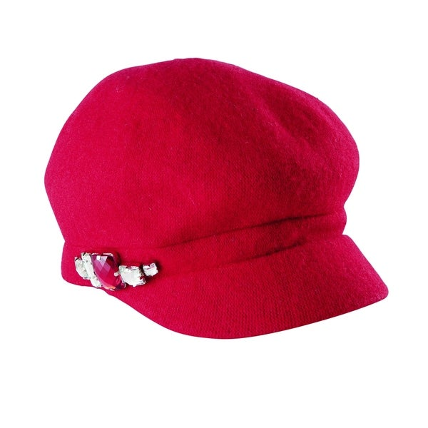 c2fff33c917d Shop San Diego Hat Company Wool Cabby with Faux Jewel Trim SDH0516 Red -  Free Shipping On Orders Over  45 - Overstock.com - 18186710