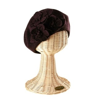 San Diego Hat Company Wool Beret with Flowers SDH0515 Mink