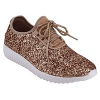 Forever FM74 Lace Up Glitter White Sole Street Sneakers
