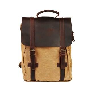 "Travables 15.6"" Laptop Bag Vintage Canvas Leather Backpack Casual Daypack Retro Rucksack"