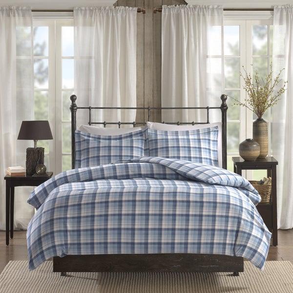 Woolrich Tasha Blue Printed Cotton Flannel Duvet Cover Mini Set