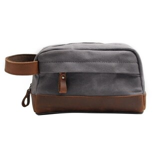 Travables Classic Waterproof Canvas Leather Toiletry Bag for Shaving Kit Makeup