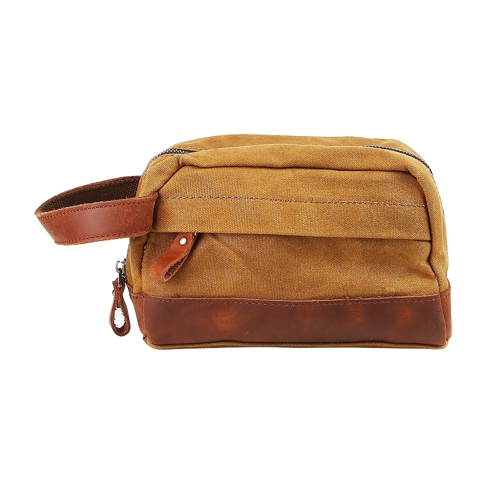 Travables Classic Waterproof Canvas Leather Toiletry Bag ...