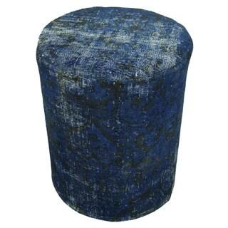 Noori Rug Aleta Blue/Black Wool Vintage Distressed Pouf (16-inch x 16-inch x 20-inch)