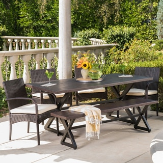 Palermo Outdoor 6-piece Rectangle Aluminum Wicker Dining Set with Cushions by Christopher Knight Home