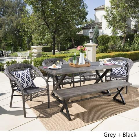 Kensington Outdoor 6-piece Rectangle Aluminum Wicker Dining Set by Christopher Knight Home