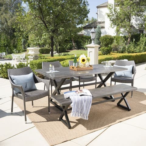Isola Outdoor 6-piece Rectangle Aluminum Wicker Dining Set by Christopher Knight Home