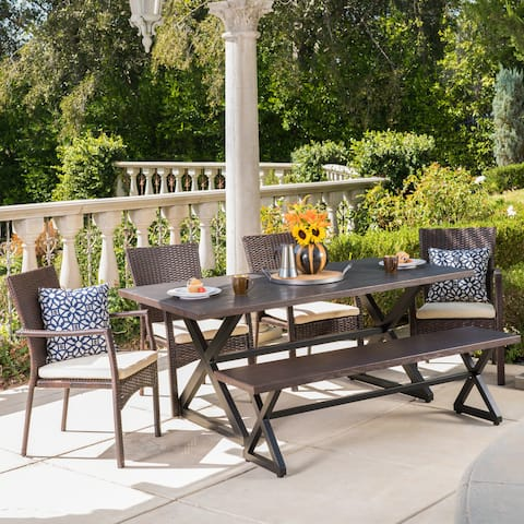 Tritan Outdoor 6-piece Rectangle Aluminum Wicker Dining Set with Cushions by Christopher Knight Home