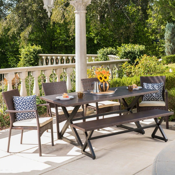 Tritan Outdoor 6-piece Rectangle Aluminum Wicker Dining Set with Cushions by Christopher Knight Home. Opens flyout.