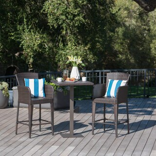 Leo Outdoor 3-piece Wicker 26-inch Square Bar Set by Christopher Knight Home