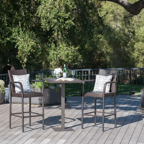 Lala Outdoor 3-piece Wicker 26-inch Square Bar Set by Christopher Knight Home
