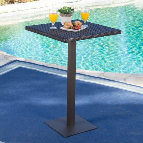 Dominic Outdoor Wicker 26-inch Square Bar Table by Christopher Knight Home