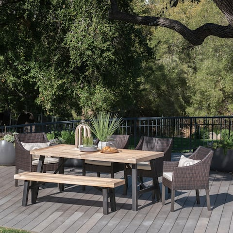 Stuart Outdoor 6-piece Rectangle Wood Wicker Dining Set with Cushions by Christopher Knight Home