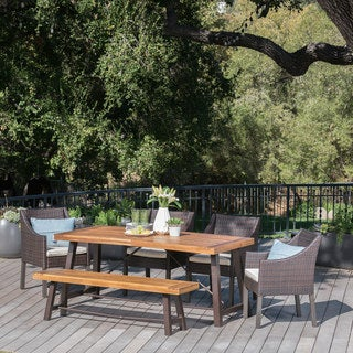 Boland Outdoor 6-piece Rectangle Wood Wicker Dining Set with Cushions by Christopher Knight Home