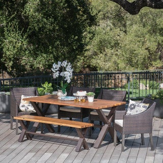 Helena Outdoor 6-piece Rectangle Wood Wicker Dining Set with Cushions by Christopher Knight Home