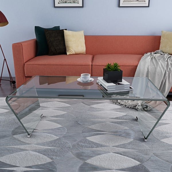 Contemporary Glass Rectangle Coffee Table: Shop Cecily Contemporary Modern Rectangle Glass Coffee