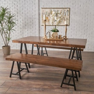 Marchello Farmhouse 3-piece Wood Picnic Dining Set by Christopher Knight Home