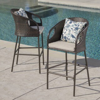 Dominica Outdoor Wicker Barstool with Cushions (Set of 2) by Christopher Knight Home