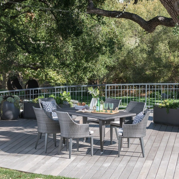 Lenox Outdoor 7-piece Rectangular Wicker Dining Set with Cushions by Christopher Knight Home
