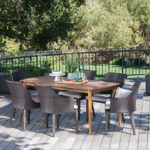 Axel Outdoor 7-piece Rectangular Wicker Wood Dining Set with Cushions by Christopher Knight Home
