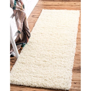 Unique Loom Solid Shag Runner Rug - 2' 2 x 6' 5 (Option: Pure Ivory)