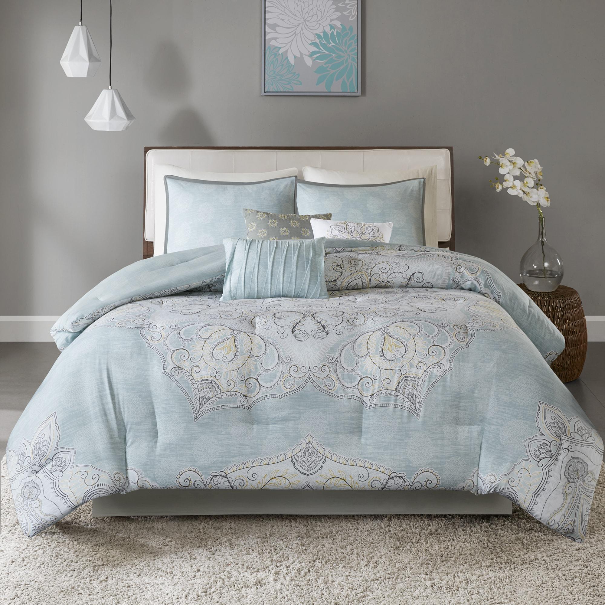 Madison Park Joanna Seafoam 7 Piece Reversible Cotton Sateen Comforter Set On Sale Overstock 18188915