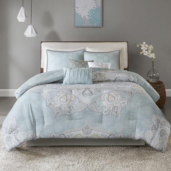 Madison Park Joanna Seafoam 7-piece Reversible Cotton Sateen Comforter Set. Opens flyout.