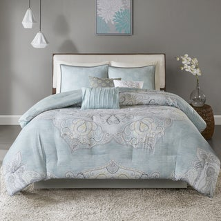 Madison Park Joanna Blue 7-piece Reversible Cotton Sateen Comforter Set