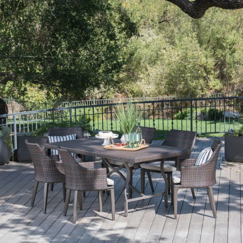 Harland Outdoor 7-piece Rectangular Wicker Aluminum Dining Set with Cushions by Christopher Knight Home