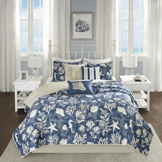 Madison Park Chatham Blue Oversized Quilted 6-piece Cotton Sateen Coverlet Set