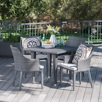 Lenox Outdoor 5-piece Square Wicker Dining Set with Cushions by Christopher Knight Home