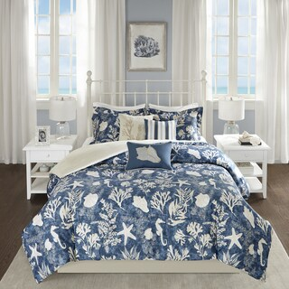 Madison Park Chatham Blue 6-piece Cotton Sateen Duvet Cover Set
