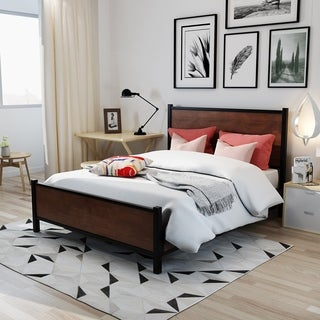 Lisann Industrial Wood Queen Bed Frame by Christopher Knight Home