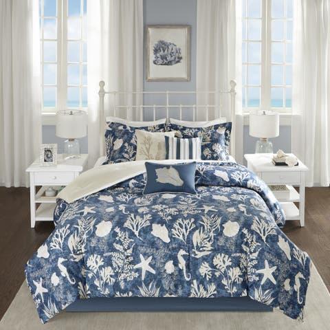 Madison Park Chatham Blue 7-piece Cotton Sateen Comforter Set