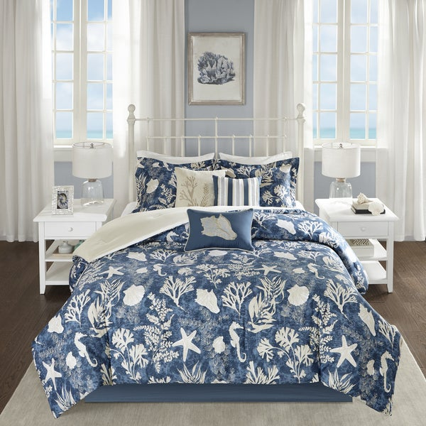 Madison Park Chatham Blue 7-piece Cotton Sateen Comforter Set