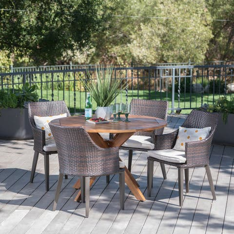 Ryan Outdoor 5-piece Round Wicker Wood Dining Set with Cushions by Christopher Knight Home