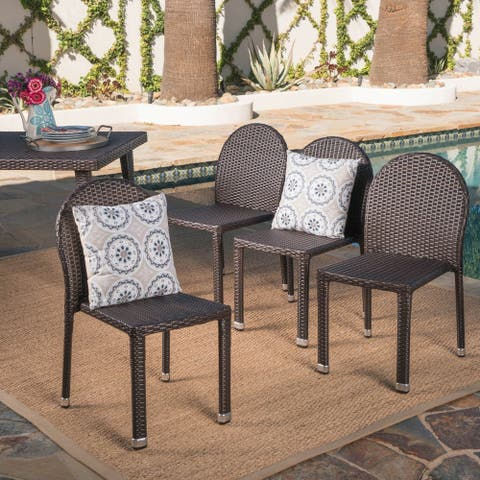 Aurora Outdoor Wicker Aluminum Stacking Chair (Set of 4) by Christopher Knight Home