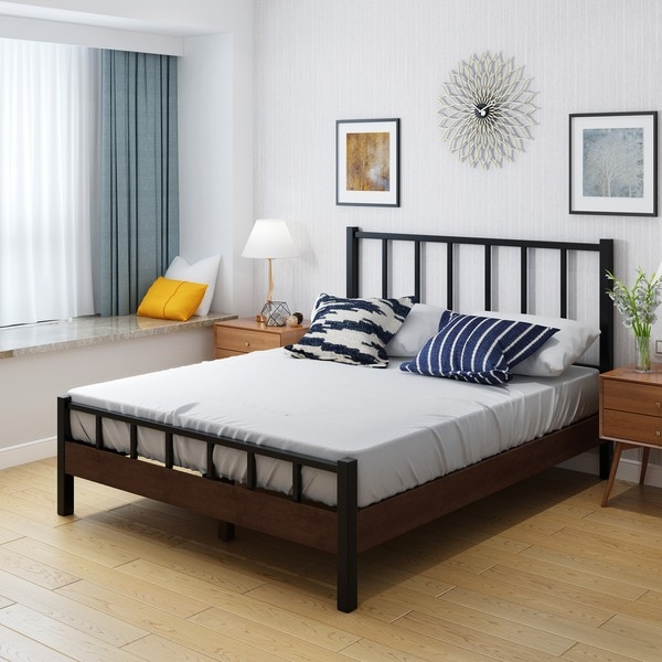 Shop Hamish Industrial Wood Queen Bed Frame by Christopher Knight ...