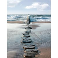 """Cortesi Home Stepping Stone Tempered Glass Wall Art, 12"""" x 16"""""""