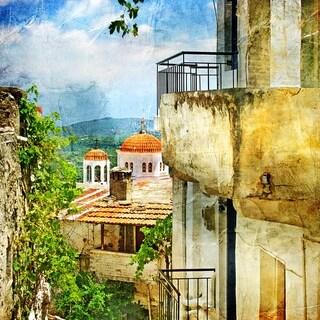 "Cortesi Home Santorini II Tempered Glass Wall Art, 12"" x 12"""