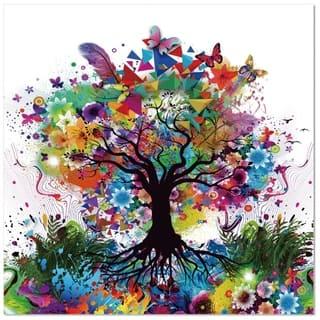 """Epic Graffiti Kaleidoscope Tree Tempered Glass Wall Art, 18"""" x 18"""""""