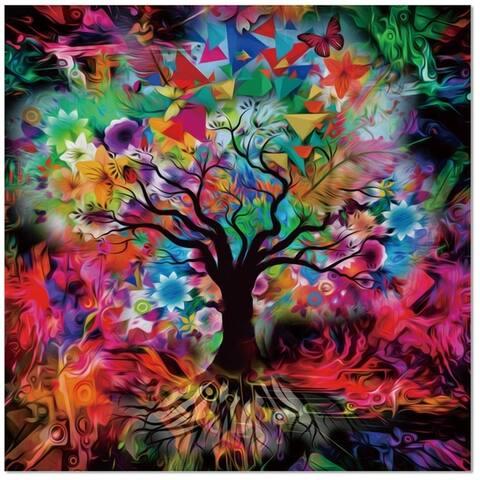 "Epic Graffiti Kaleidoscope Tree Black Tempered Glass Wall Art, 18"" x 18"""