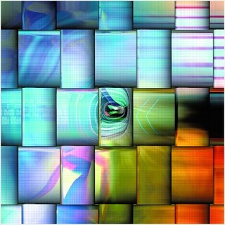 """Cortesi Home Pixel Motion Tempered Glass Wall Art, 32"""" x 32"""""""