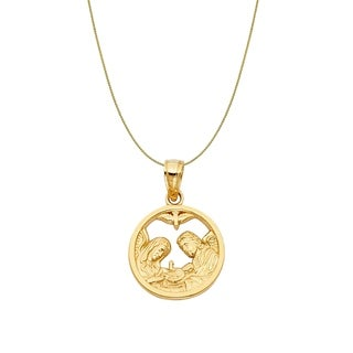 14k Yellow Gold Fancy Round Baptism Pendant and Wheat Chain Necklace