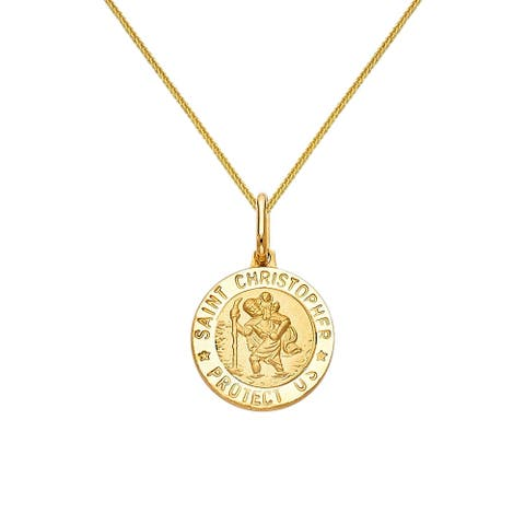 14k Yellow Gold Saint Christopher Medallion and Wheat Chain Necklace