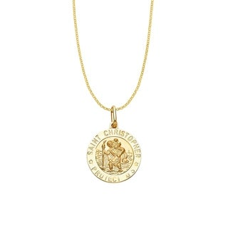 14k Yellow Gold Saint Christopher Medallion and Rolo Chain Necklace