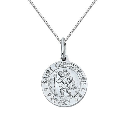 14k White Gold Saint Christopher Medallion and Box Chain Necklace