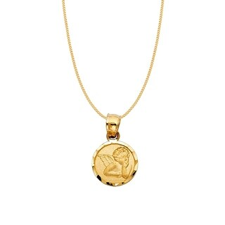14k Yellow Gold Cherubic Guardian Angel Pendant and Curb Chain Necklace