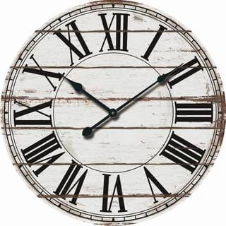 Rustic White Oversized Wood Wall Clock|https://ak1.ostkcdn.com/images/products/18189047/P24334023.jpg?impolicy=medium
