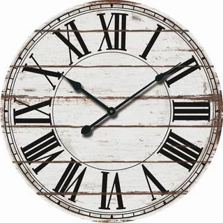 rustic white oversized wood wall clock